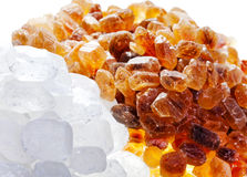 White and brown candy sugar.Close up in a sunny day Stock Photos