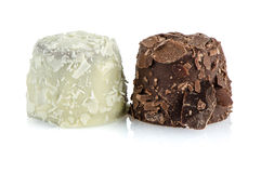 White and brown chocolate candies Stock Photography