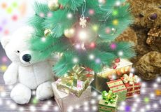 White and brown christmas bear with lighting effect royalty free stock photography