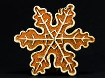 White and brown Christmas decoration, snow flake against black b Stock Image