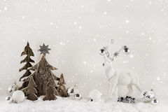 White and brown christmas decoration on wooden background with r Stock Photo