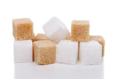 White and brown cubes sugar Stock Photo