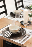 White and brown dining table Royalty Free Stock Photos