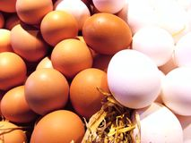 White and brown eggs. At the market, close up Royalty Free Stock Images