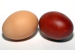 White and brown eggs. Closeup Stock Photos