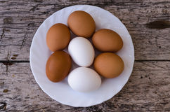 White and brown eggs Royalty Free Stock Image