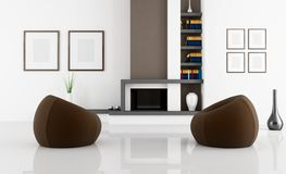 White and brown fireplace room Stock Photos
