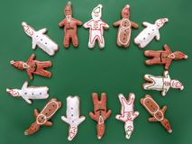 White and brown gingerbread cookie figures Stock Photos
