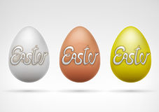 White brown and golden whole egg with text collection Royalty Free Stock Images