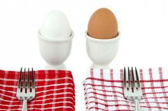 White and brown hard boiled eggs Stock Photography
