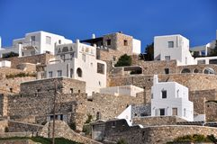 White and brown houses on greek island Mykonos Stock Images