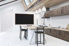 White and brown kitchen interior Royalty Free Stock Photos