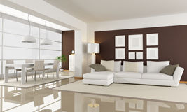 White and brown living room Royalty Free Stock Photo
