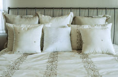 White and brown pillow Stock Photo