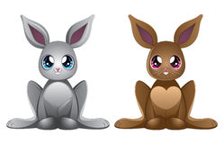 White and brown rabbits Stock Image