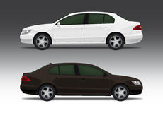 White and brown sedan car. Vector illustration of bussiness sedan car in white and brown design Royalty Free Stock Photos