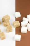White and brown sugar. White and brown cubes of sugar Stock Photography
