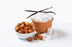 White and brown sugar cubes Stock Photo