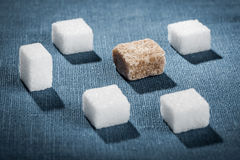 White and brown sugar cubes closeup Royalty Free Stock Image