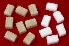 White and brown sugar Stock Photos