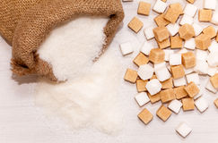 White and brown sugar Stock Images