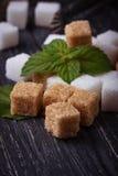 White and brown sugar. Selective focus Stock Photos