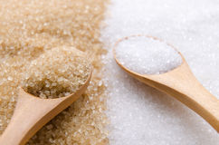White and brown sugar. In wood spoon Stock Images