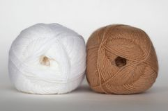 White and brown yarn Royalty Free Stock Photo