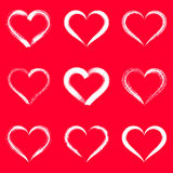 White brush strokes hearts. Outlines valentine illustrations Stock Photography