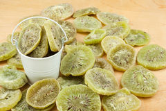 White bucket with  dried kiwi on the wooden floor Stock Image