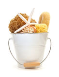 White bucket filled with sponges and brushes Royalty Free Stock Image