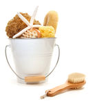 White bucket filled with sponges and scrub brushes Stock Images