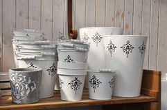 White buckets Stock Photo