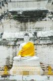 White buddha. In Kasattratirat temple Ayutthaya, Thailand Royalty Free Stock Photography