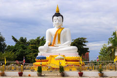 White Buddha at Dokkrai temple thailand Stock Photos