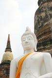 White buddha image. With pagoda,  Ayutthaya, Thailand Stock Images