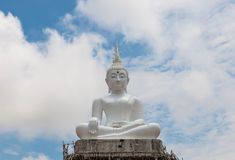 The white buddha made from cement in Thailand Stock Photography