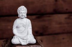 White Buddha - peaceful mind on dark background Royalty Free Stock Photos