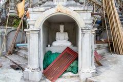 White Buddha Statue in Bodhgaya Stupa or Phuthakaya Pagoda at Sa Royalty Free Stock Image
