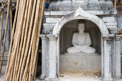 White Buddha Statue in Bodhgaya Stupa or Phuthakaya Pagoda at Sa Royalty Free Stock Image