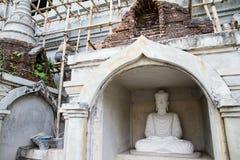 White Buddha Statue in Bodhgaya Stupa or Phuthakaya Pagoda at Sa Stock Photography