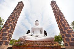 White buddha statue in buddhism temple thailand Royalty Free Stock Image