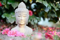 White Buddha statue with flowers Royalty Free Stock Photos