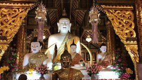 White Buddha statue in Inthakhin Sadue Muang Temple stock video footage
