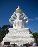 White Buddha Statue with Naga Seven Heads on Blue Sky Background Royalty Free Stock Photos