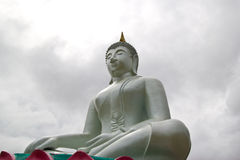White Buddha statue in old temple Royalty Free Stock Images