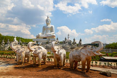 White Buddha statue outdoor Royalty Free Stock Image