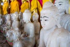 White Buddha Statue in temple at Wat Somdej Sangkhlaburi, Kancha Royalty Free Stock Photos