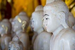 White Buddha Statue in temple at Wat Somdej Sangkhlaburi, Kancha Royalty Free Stock Images