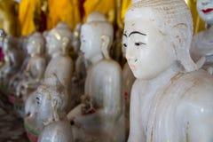 White Buddha Statue in temple at Wat Somdej Sangkhlaburi, Kancha Stock Photo